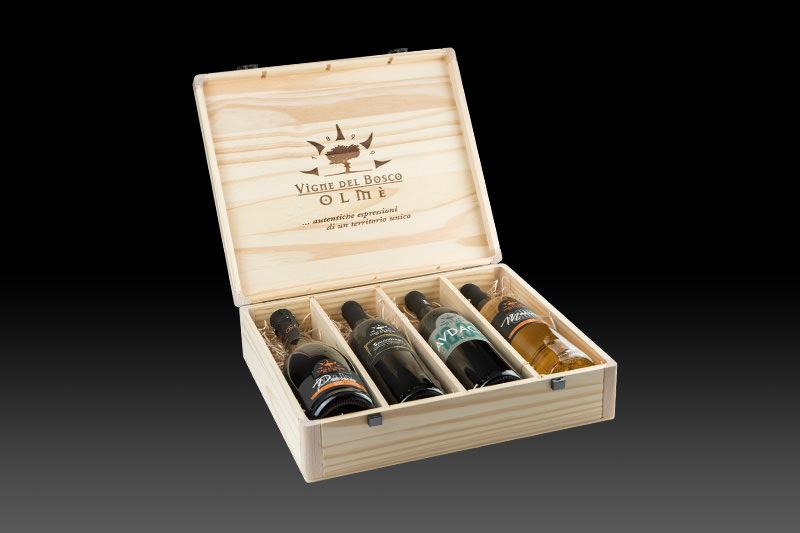 Cofanetto in legno da 4 bottiglie di Vigne del Bosco Olmè